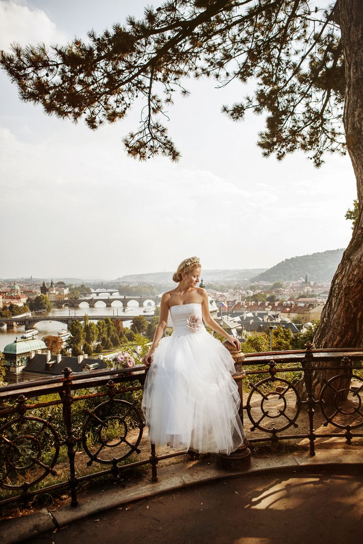 Bride above the #prague, such a lovely view
