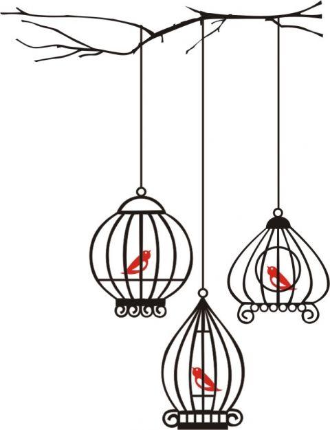 fali matrica - faágról lelógó kalitkában madarak, Dekoráció, Meska