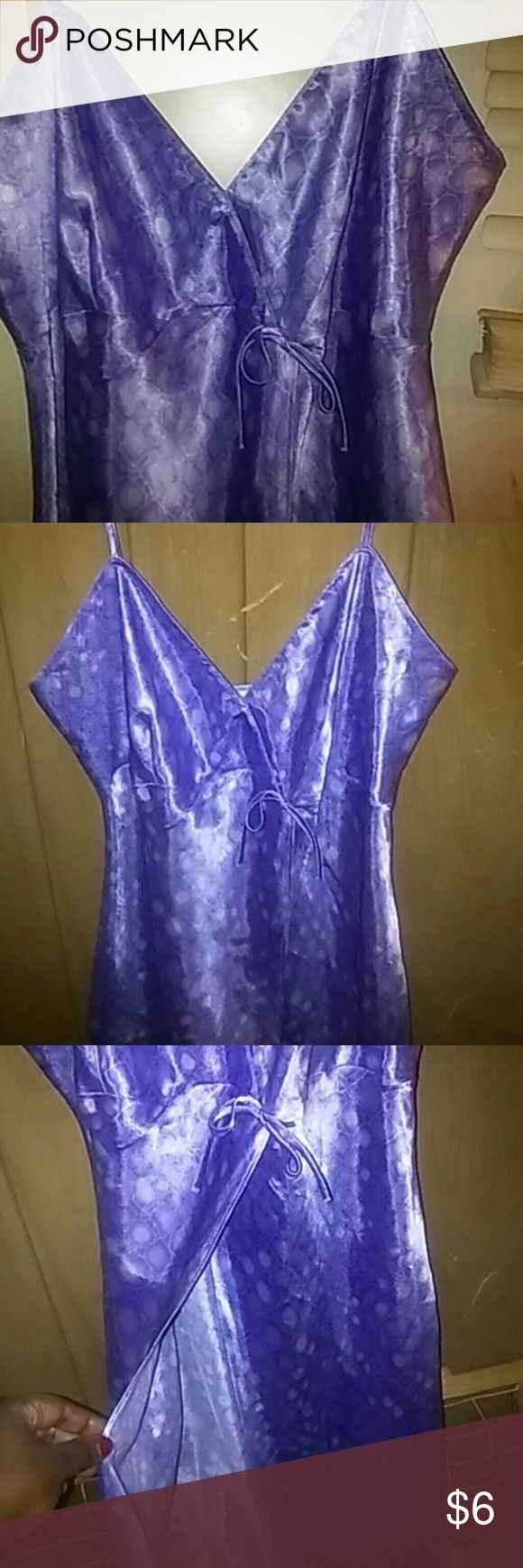💖2/$12💖Satin Lingerie gown Lilac colored long lingerie gown with split and adjustable straps..too small when bought..never worn Secret Treasures Intimates & Sleepwear Chemises & Slips