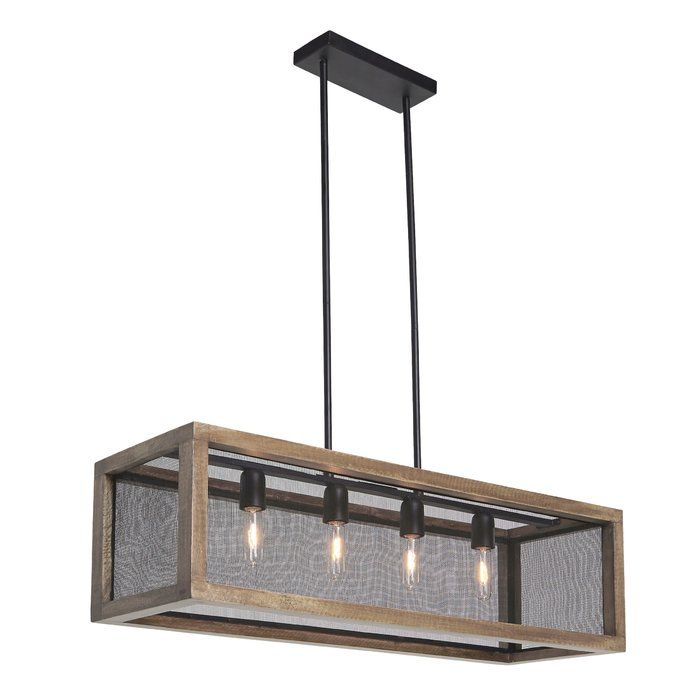 Delightfully chic over a dining room table, breakfast bar or kitchen island, this rectangular pendant light is a clear winner for form and function. Adjustable height rods make it that much more accommodating. Incorporation of naturally finished wood and metal bring an earthy sensibility to light.