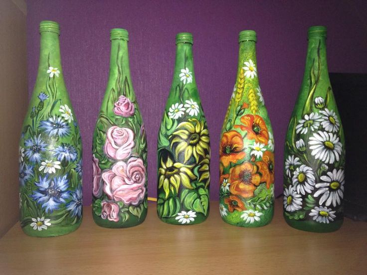 sommerblumen deko flaschen bild auf glas akrylfarben handarbeit deko bottles hand painted. Black Bedroom Furniture Sets. Home Design Ideas