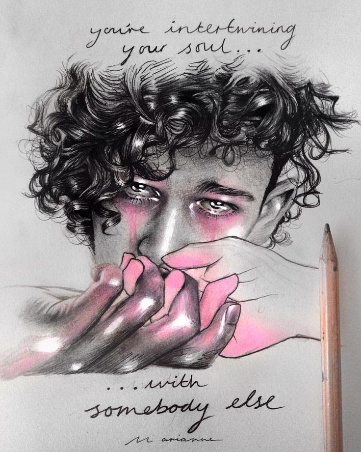 "Marianne Hernandez on Instagram: ""'Intertwining', @the1975 'Somebody else' lyric art. Portrait of @trumanblack"