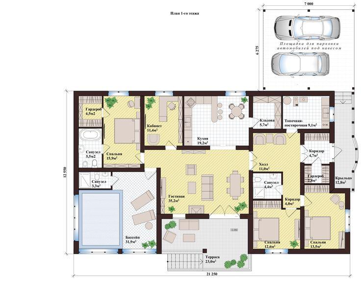Одноэтажный Дом, Навес на 2 Авто, Терраса, 3 Спальни, Кабинет, Крытый Бассейн, Подвал | 268 м² | КТ-276 | DOMRIY