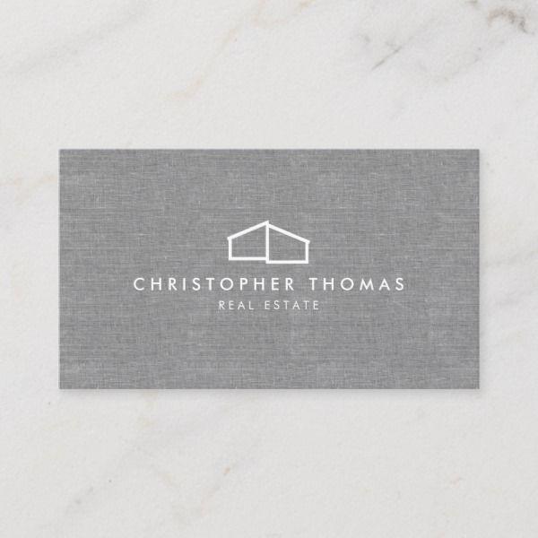Modern Home Logo Real Estate Realtor Gray Linen Business Card Zazzle Com Realtor Business Cards Linen Business Cards Logo Real