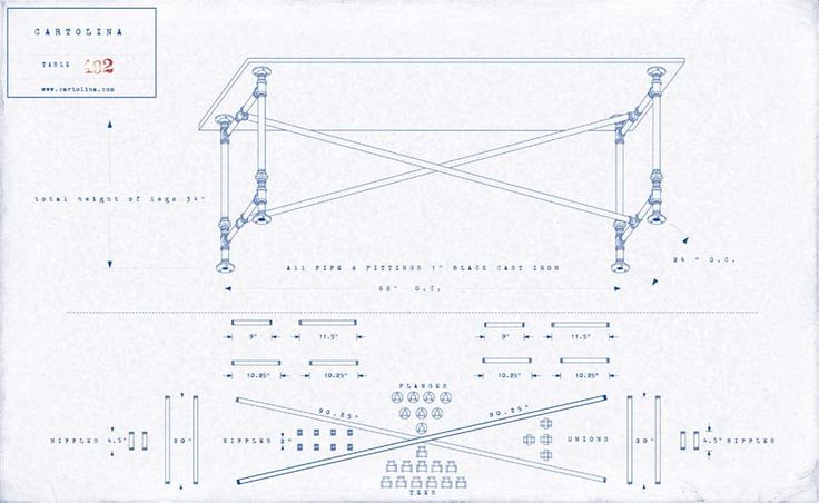 A set of plans for a work table made of cast iron pipe for Do it yourself dining room table plans