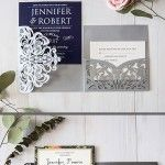 EWI 2017 Trendy New Grey Wedding Invitations with Matched Color Ideas