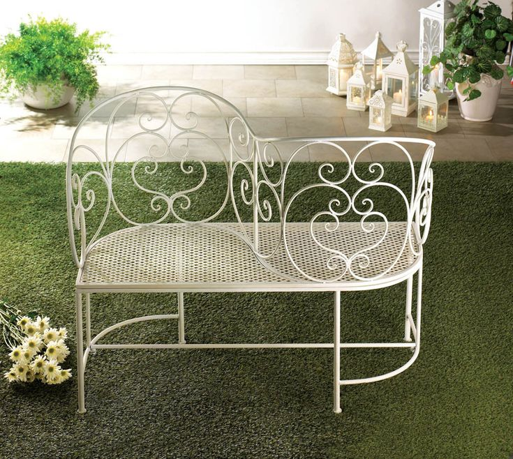 white wrought iron scroll work couples garden bench patio love seat furniture love seat wrought iron and patio - Wooden Garden Furniture Love Seats