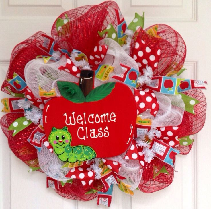 Welcome Class Teachers Deco Mesh Wreath by whatameshbydiana on Etsy https://www.etsy.com/listing/235180729/welcome-class-teachers-deco-mesh-wreath