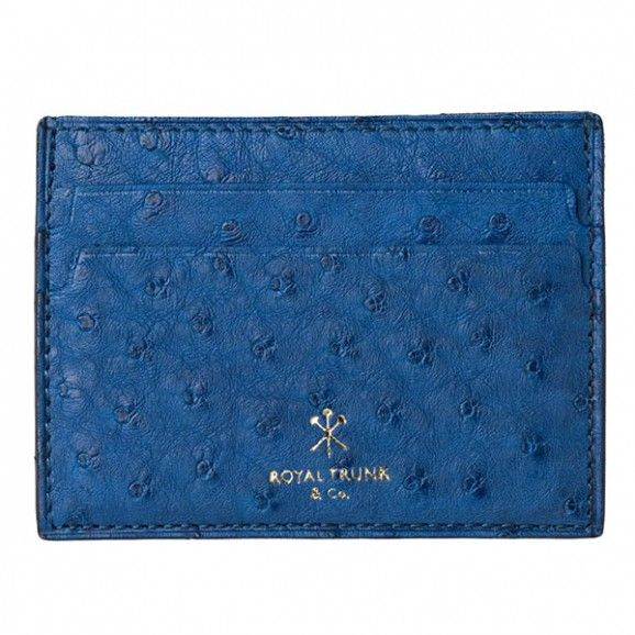 Royal Trunk Mens Cardholder Blue Ostrich
