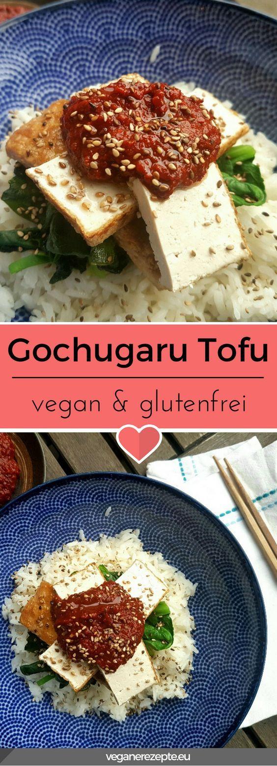 Scharfer #Gochugaru #Tofu mit Reis und Spinat. Gochugaru sind koreanische Chiliflocken mit einem leichten Raucharoma. #vegan und #glutenfrei