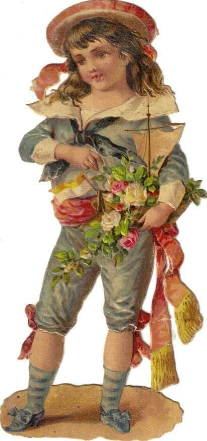 Victorian Die Cut Scrap Sailor Boy w Sailboat c1880s