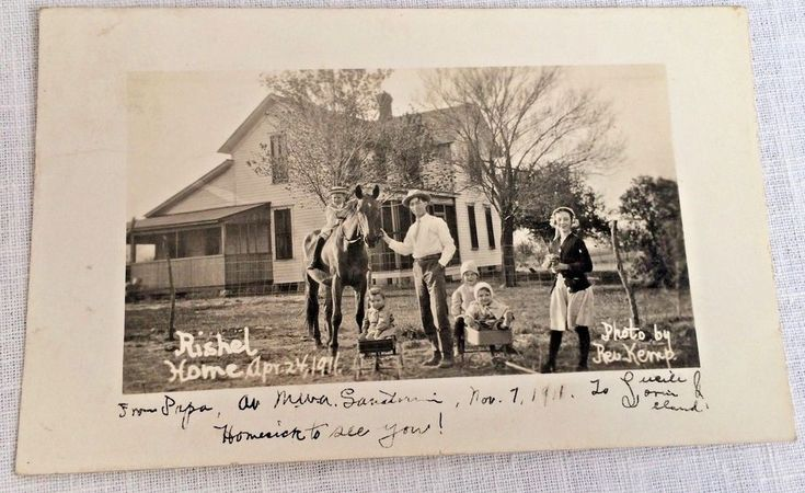 RIshel Home Taken April 24, 1911 by Rev. Kemp Real Photo Postcard RPPC
