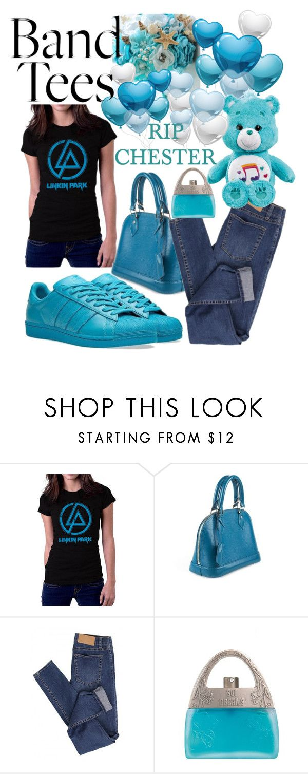 """""""I'm with the Band: Band T-Shirt"""" by michele-nyc ❤ liked on Polyvore featuring Louis Vuitton, adidas, Cheap Monday and Anna Sui"""