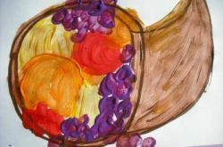 Kindergarten Thanksgiving Activities: Paint a Cornucopia Still Life!