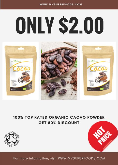 HUGE PROMO - I love this 100%Top Rated Organic Cacao Powder, and this discount is such a great bargain!
