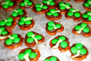 We made these cute decadent clover treats. Can I just say chocolate covered pretzels are awesome!