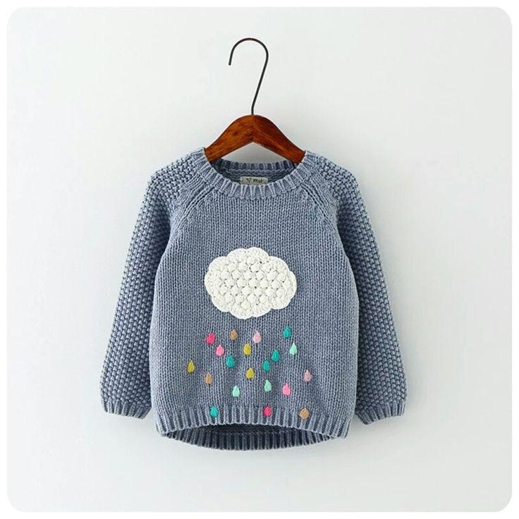 Girl Cloud Raindrops Sweater
