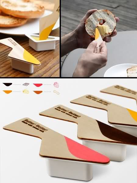 Butter Packaging  Creative packaging by Yeongkeun Jeong comes with a butter knife.