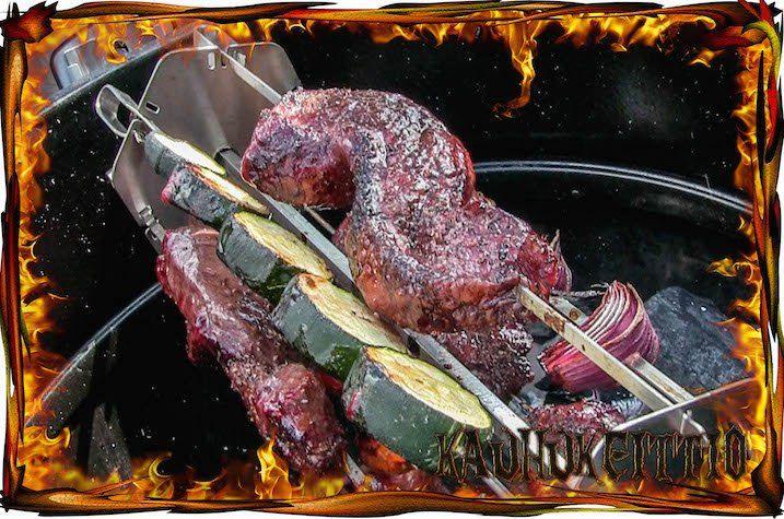 Varrasteline grillivartaaseen | Skewer rack to rotisserie | Weber