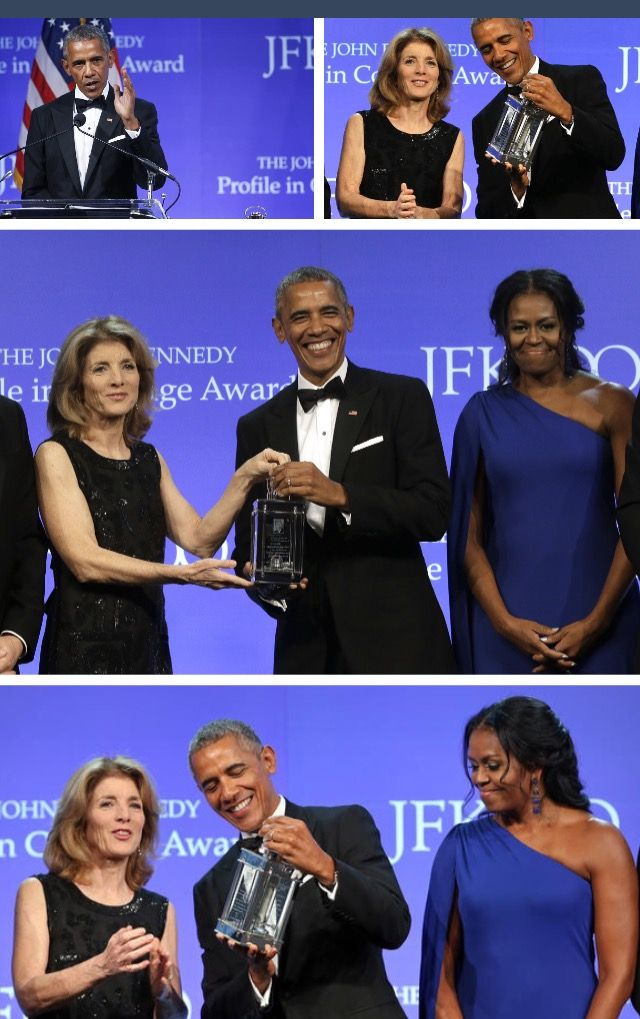 Ambassador Caroline Kennedy and her son, Jack Schlossberg, present the 2017 John F. Kennedy Profile in Courage Award to President Barack Obama as part of the centennial celebration of John F. Kennedy's birth. Held at the John F. Kennedy Presidential Library and Museum.