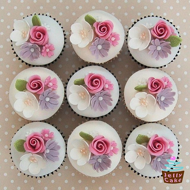 Rose and Blossom 50th Cupcakes   Flickr - Photo Sharing!