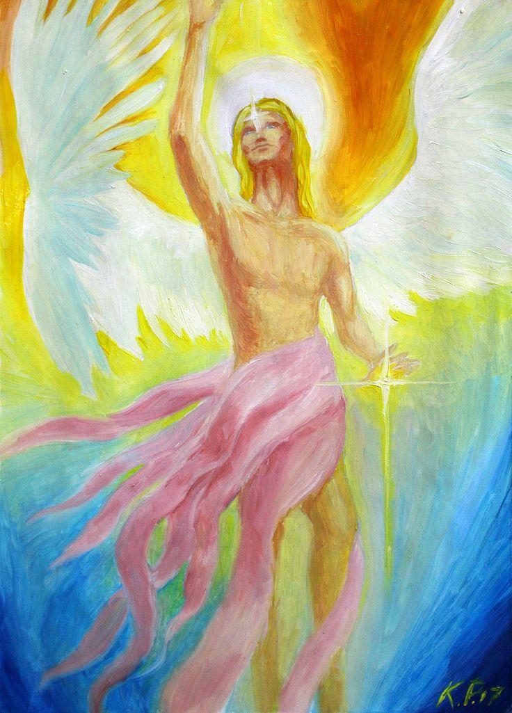 Ангел  (Грунтованная бумага, масло. Размеры 21*29) Впервые попробовал писать на грунтованной бумаге, ощущения интересные, масло наносится аккуратно и больше возможности для детализации. Образ ангела придуманный.