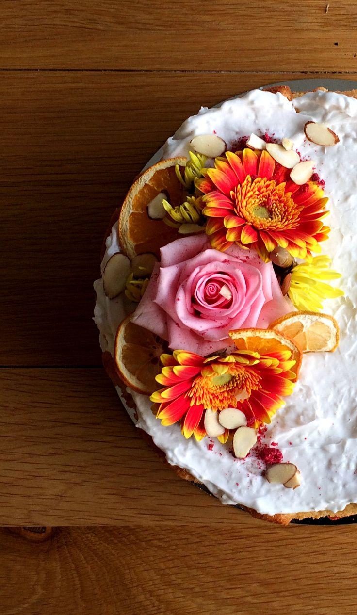 Raspberry rose coconut birthday cake