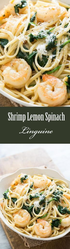 Sautéed shrimp with caramelized lemons, tossed with shallots, spinach and linguine. The trick that takes this recipe over the top? Caramelizing the lemon. So good! On SimplyRecipes.com