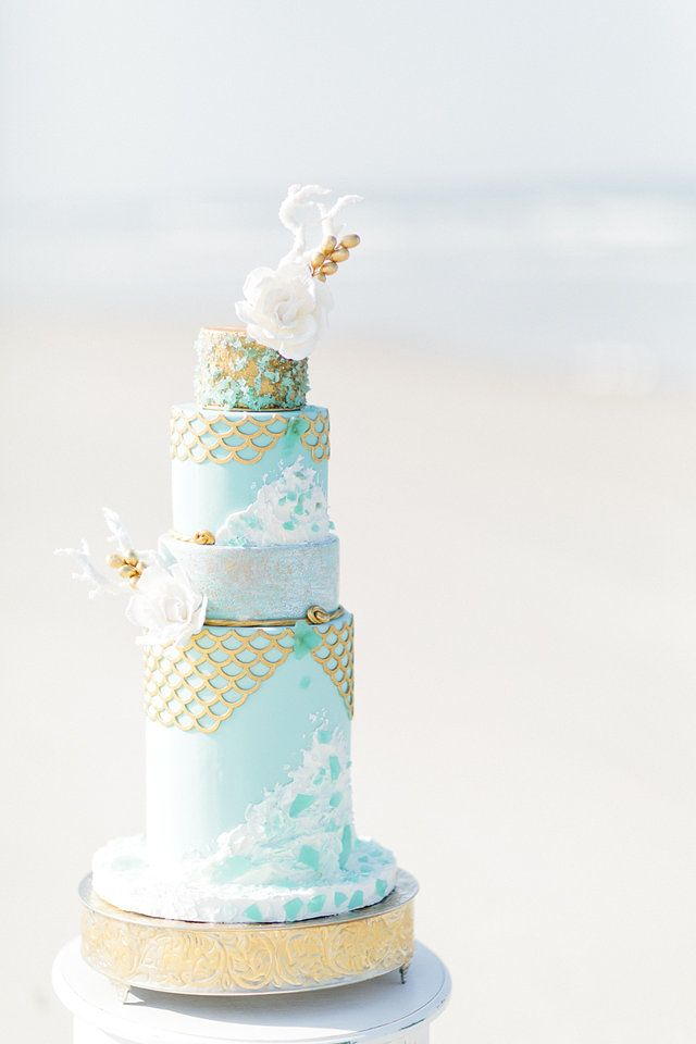 sea glass cake by Bliss Pastry / photo by Debra Eby Photography