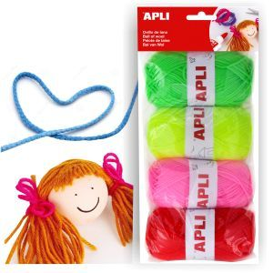 Lana colores fluor para manualidades, pack 4 ovillos http://www.selfpaper.com/html/lana-colores-fluorescentes-para-manualidades-g.html