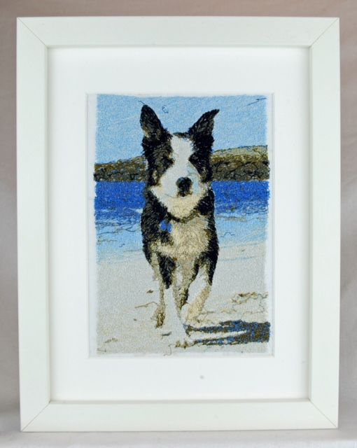 Meet Border Collie Shap - an embroidered pet portrait. Commissions taken, just email us a high resolution image in jpeg format for a free no-obligation quotation. info@thehebrideandesigncompany.com