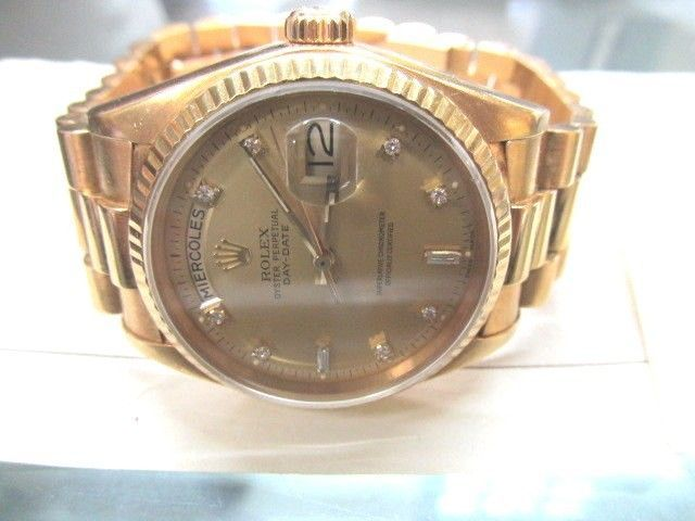 Rolex President Diamond 18k Yellow Gold 133gr Automatic Men's Watch 36mm 18038 #Rolex #Luxury