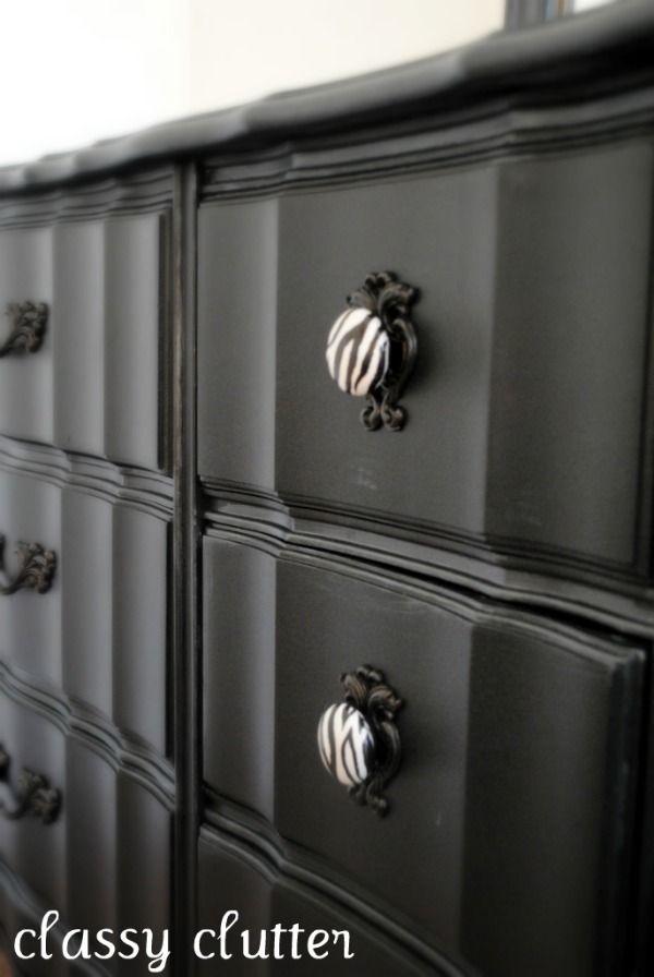 Black and Zebra Dresser Makeover - Classy Clutter