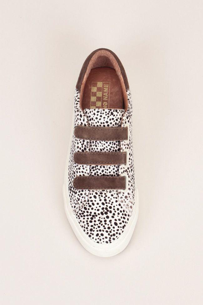 Sneakers compensées cuir cappuccino crin imprimé pois Arcade Velcro - No Name