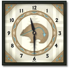 Bear Totem Square Metal Wall Clock - From our Southwestern Clocks category, this clock features art work showing a traditional Native American bear fetish symbol.  $50.00