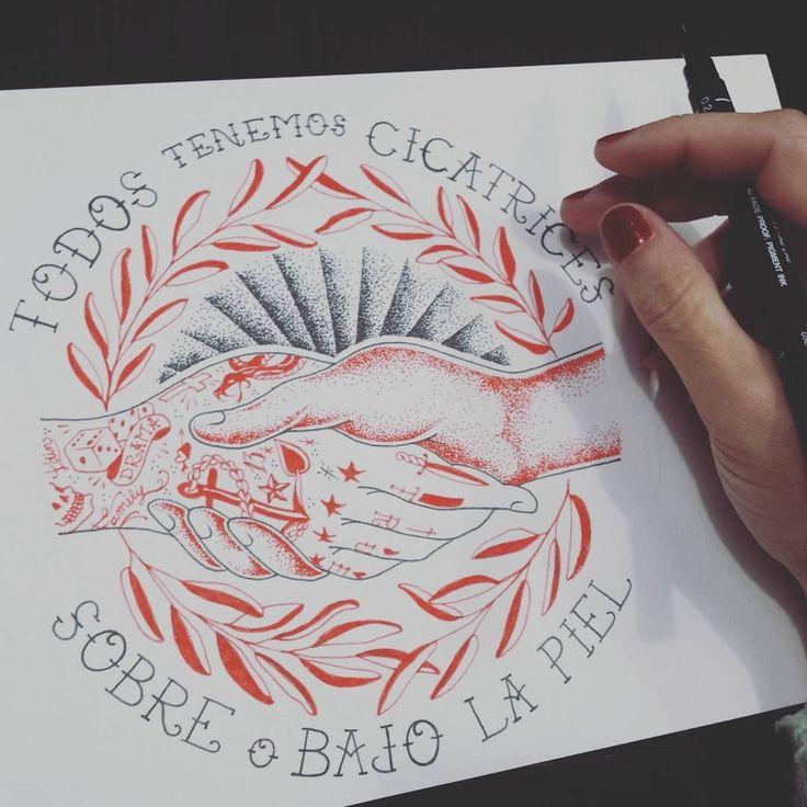 Todos tenemos cicatrices, algo por lo que luchar y en lo que creer para conseguirlo. A todos: F U E R Z A 💪 #illustration #art #ilustración #design #drawing #sketchaday #barcelona #bcn #igersbcn #tattoo #inkpen #calligraphy #lettering #serigrafia #screenprinting #handprinted #handwriting #slowfashion #cicatrices #scars #fight #warrior #aids #sida #fuerza #oldschooltattoo #anchor #family #friendship #apoyo