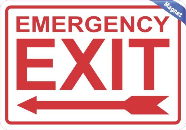 Left Arrow Emergency Exit Magnet