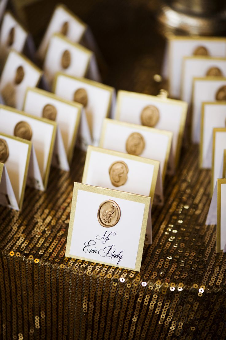 #gold, #escort-cards, #wax-stamp  Photography: Justin & Mary - justinmarantz.com  Read More: http://www.stylemepretty.com/2013/11/18/classic-connecticut-wedding-from-justin-and-mary-marantz/