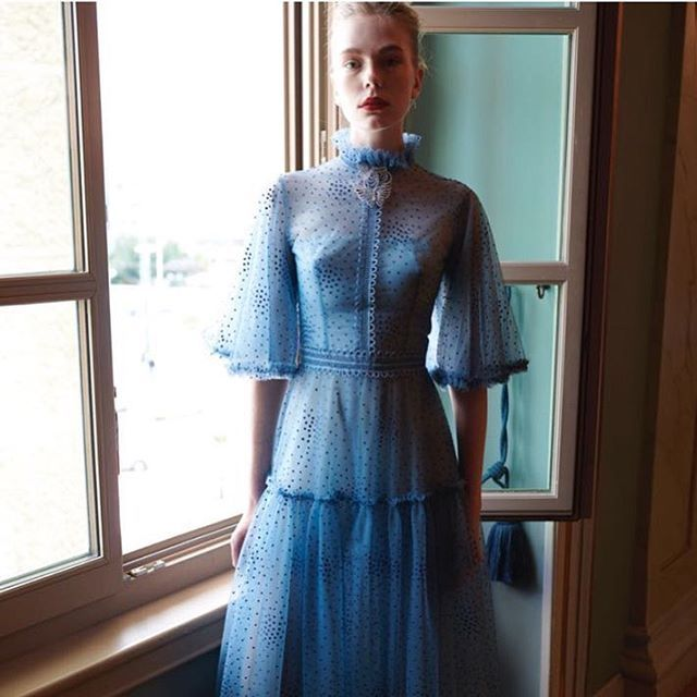 In #romantic mood... #costarellos #fw18 #fw2018 #lightblue #pfw #parisfashionweek #paris #rtw