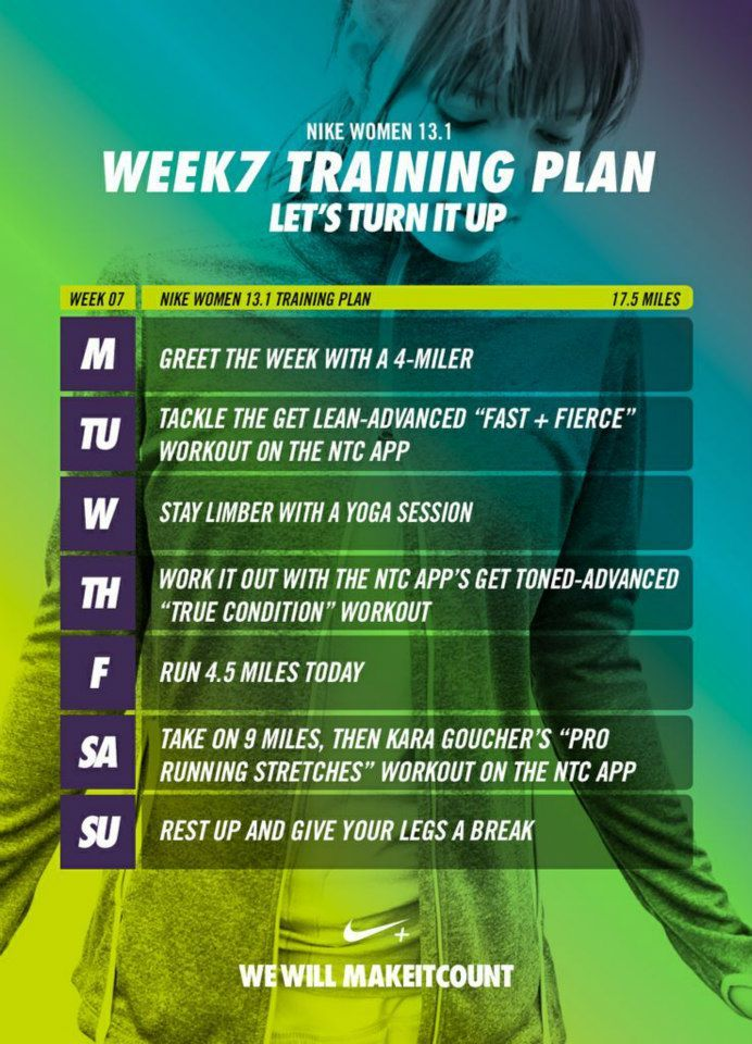 Week 7 of Nike Half Marathon Training Plan! Found on Nike