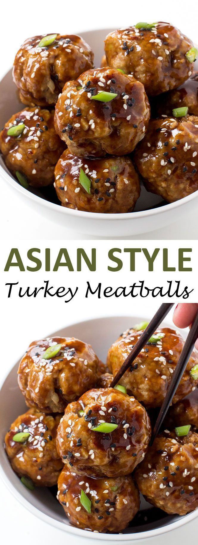 30 MINUTE ASIAN TURKEY MEATBALLS. BAKED AND TOSSED IN AN ASIAN INSPIRED SAUCE ==INGREDIENTS== 1 lb ground turkey, ¾c panko breadcrumbs, 3 cloves garlic, 1 whole green onion, 1 large egg, ½t sesame oil, 1T low sodium soy sauce =ASIAN SAUCE= ¼c hoisin sauce, ⅛c low sodium soy sauce, 1T water, 1t sesame oil, green onions for serving opt sesame seeds for serving opt      ==============
