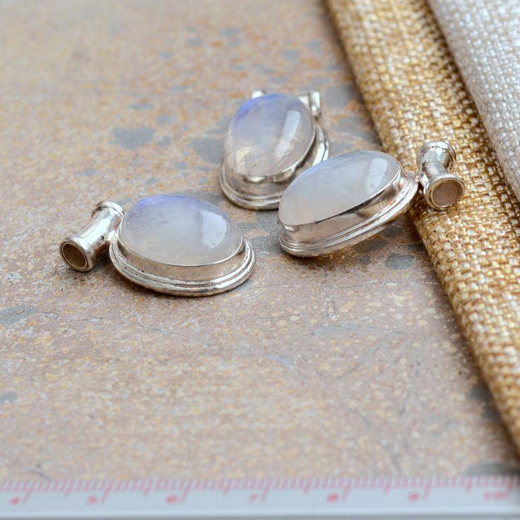 Oval Rainbow Moonstone Sterling Silver Pendant, Spectrolite, Nepal Artisan Pendant, Bohemian Moonstone Jewelry Making Supplies, BID17-1023B by WanderlustWorldArts on Etsy