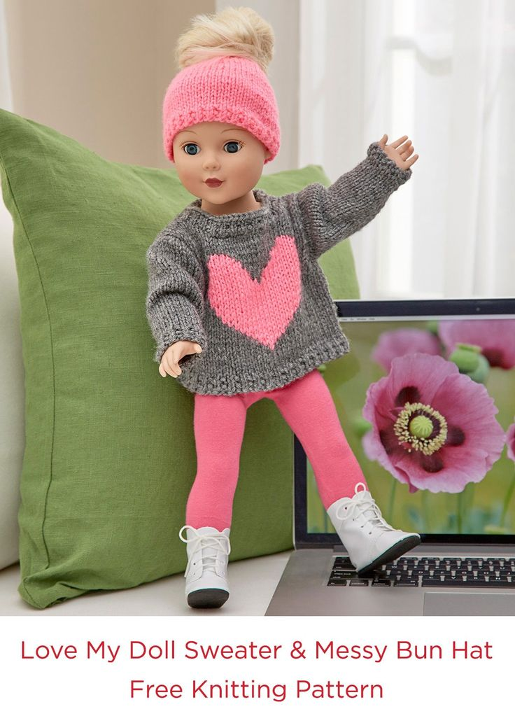 Love My Doll Sweater & Messy Bun Hat Free Knitting Pattern in Red Heart Super Saver yarn