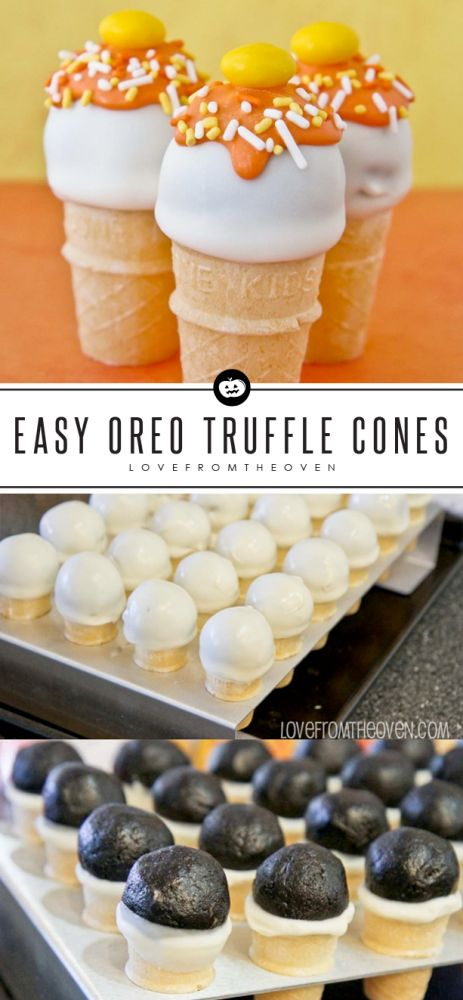Easy No-Bake Oreo Truffle Cones For Halloween. These are so easy and I think they taste better than cake pops, with no baking! Love this recipe!