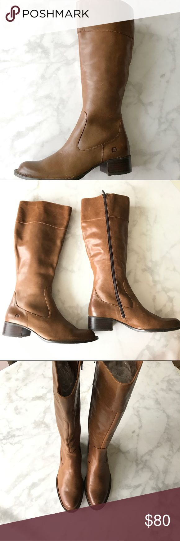 NWOB Born brown tall leather boots size 9.5 New without box Born boots. Up to the knee. Beautiful caramel brown boots. Zipper on the inside. Size 9.5. Reasonable offers welcome please no trades or off site selling. Thank you. Born Shoes Heeled Boots