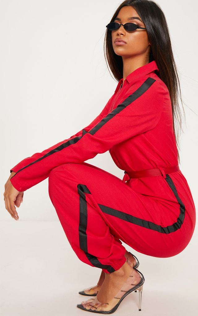 9ba72c4f4da5 Red Utility Belted Jumpsuit