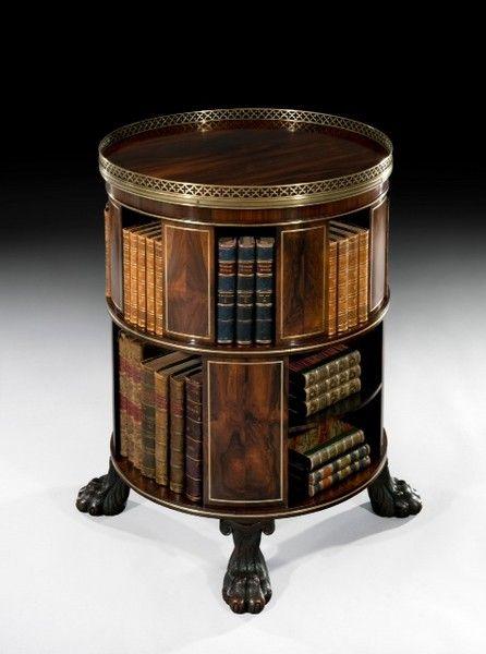 "Regency Circular Bookcase Ca1820 England. 33.58""H x 25.2""Diam."