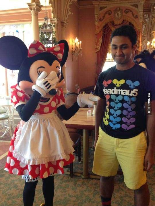 My friend went to Disneyland wearing the wrong shirt.