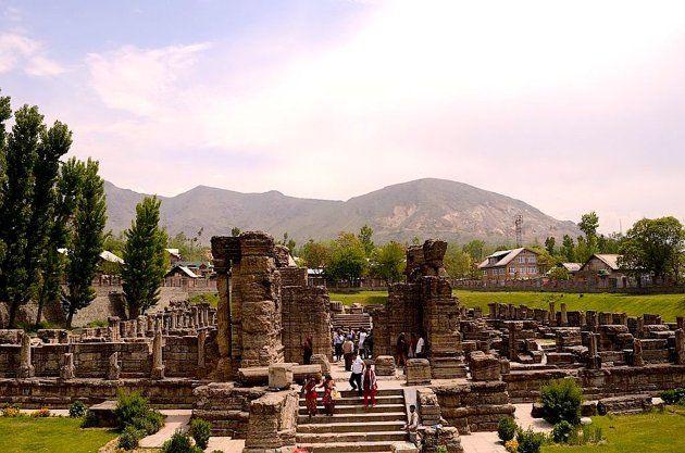 Two 9th century Hindu temples lie in ruins in Avantipur