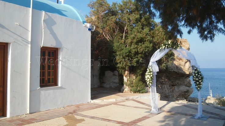Ceremony next to Church with sea background Heraklion area - by Weddings in Crete